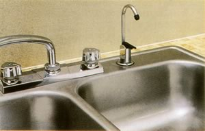 sink with reomote faucet installed