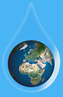 planet earth suspended in a drop of pure water